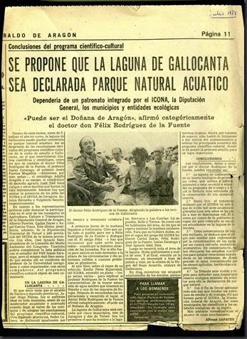 Félix R de la Fuente pide un Parque Natural. Heraldo de Aragón, Julio de 1978