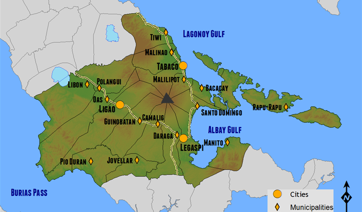 The location of Mayon in Albay province and the eight cities and municipalities that share the volcano | flickr.com