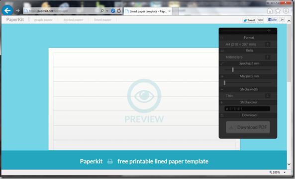 paperkit.net lined paper screenshot