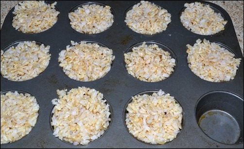 rice in muffin tin