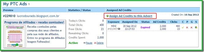 Atribuindo créditos ao seu anúncio no ClixSense