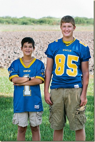 Payne and Jack in football unis...fall 2012
