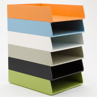 colorful letter trays from seejanework.com