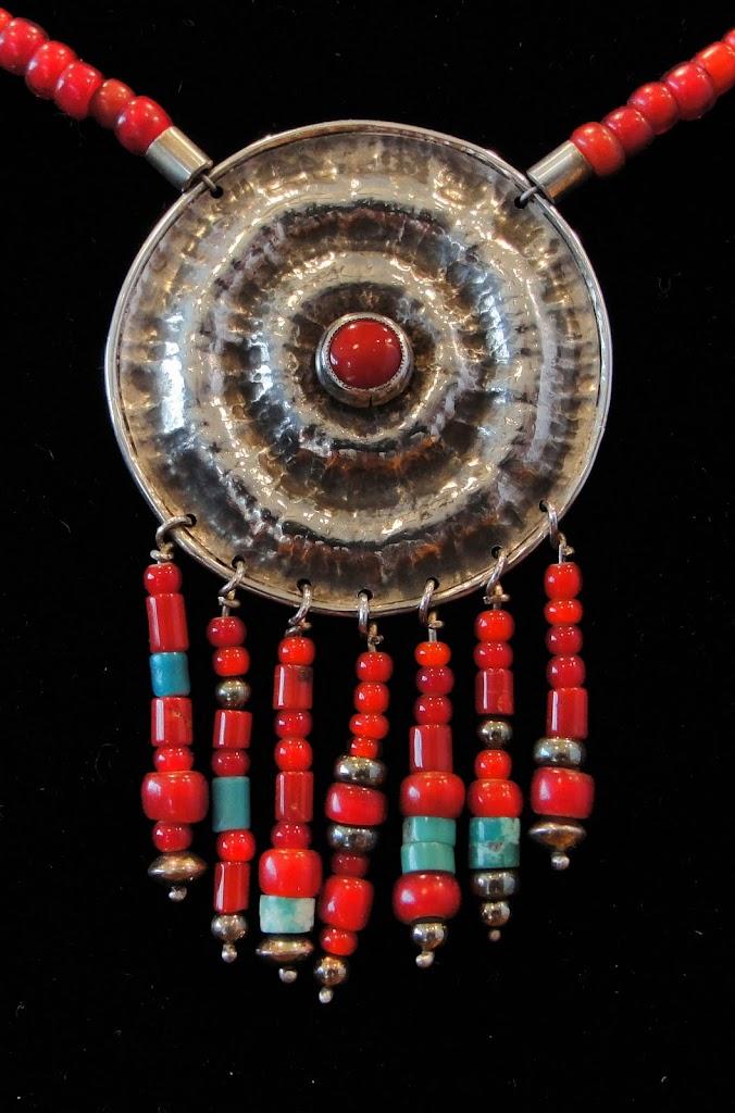 Hammered Disc w/Coral and Whiteheart Beads.....Sold