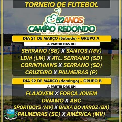 Futebol - torneio - 52 anos Campo Redondo - emancipação - beira rio