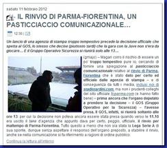 RINVIO PARMA FIORENTINA PASTICCIACCIO COMUNICAZIONALE