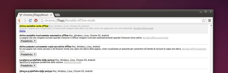 Chrome - enable-offline-mode