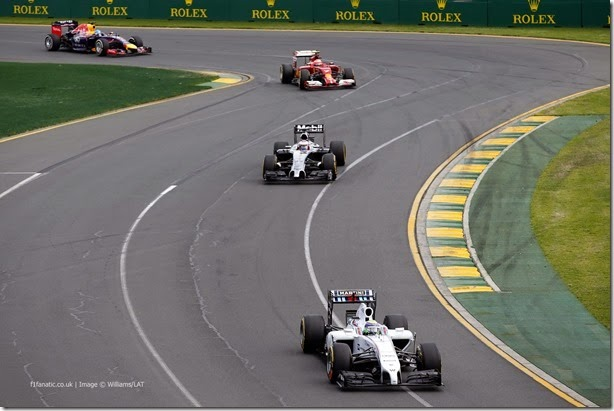 Albert Park, Melbourne, Australia. Sunday 16 March 2014. Felipe Massa, Williams FW36 Mercedes, leads Jenson Button, McLaren MP4-29 Mercedes, Kimi Raikkonen, Ferrari F14T, and Sebastian Vettel, Red Bull Racing RB10 Renault, on the warm up lap. Photo: Glenn Dunbar/Williams F1. ref: Digital Image _89P2346