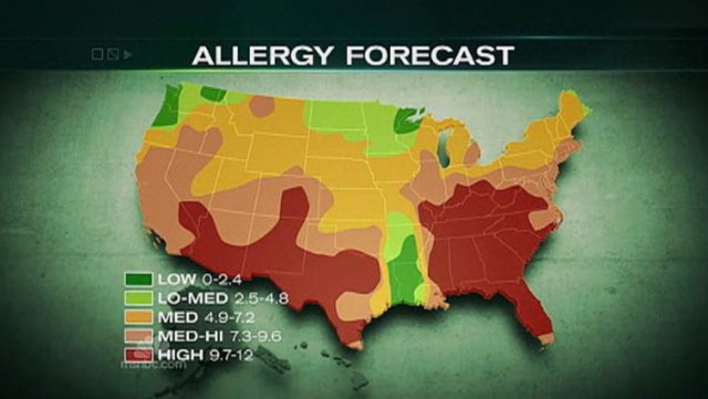 Allergy forecast for the contiguous United States, week of 19 March 2012. MSNBC