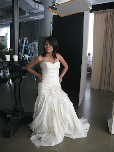Our art intern, Huong, models a dress.