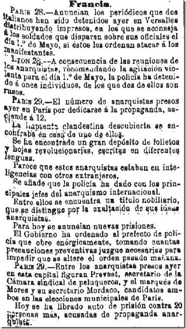 1890-04-30 - La Iberia - 01 (Preparativos del 1º de Mayo - Francia - 1)