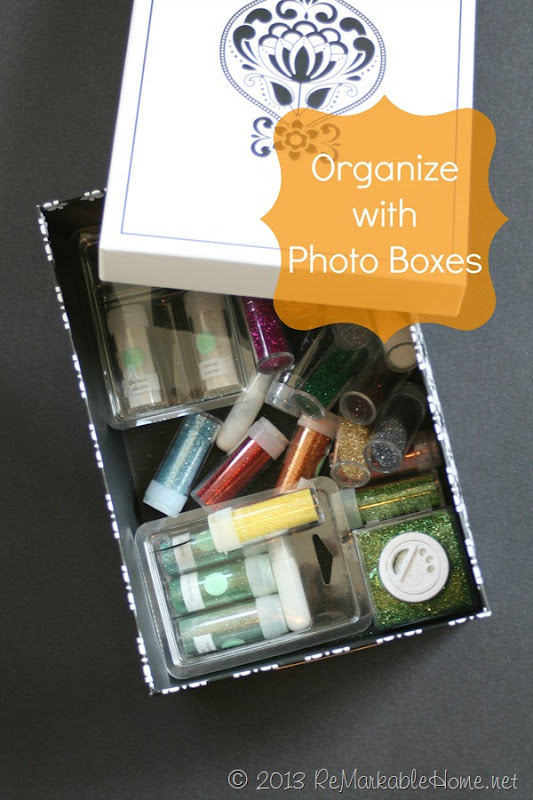 Organize your Home with Photo Boxes {ReMarkableHome.net}