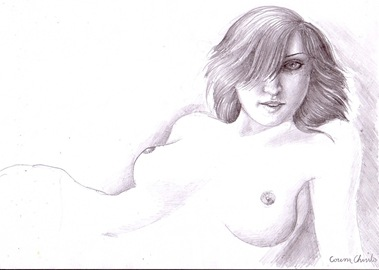 A beautiful woman waiting - Pencil drawing - O superba femeie asteptand desen in creion
