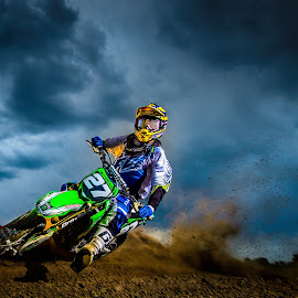 Tight Corner by Jim Harmer - Sports & Fitness Motorsports ( motocross, action, sports, dirt bike, photography, athlete )