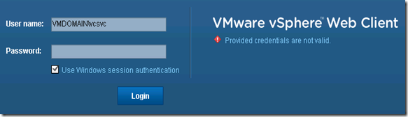 13 vSphere Web Client Provided credentials are not valid