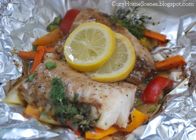 Grilled Fish in Pouch- Cooked