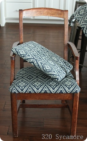 putting new fabric on chair