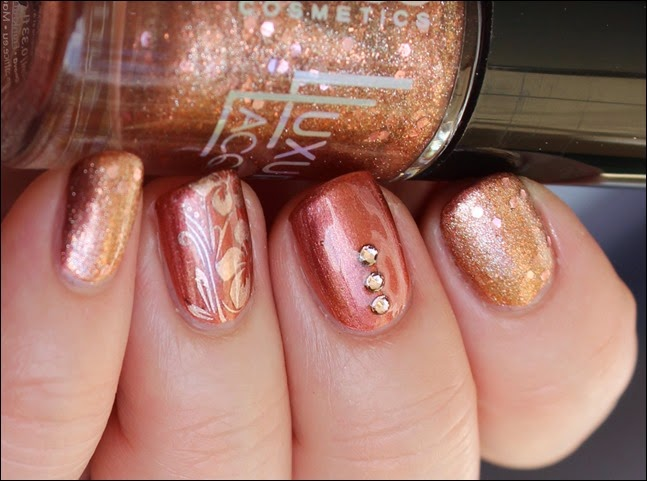 Autumn Nail Art Herbst Nageldesign Mix Match Skittle Copper 01