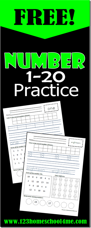 Practice Writing Numbers - these free printable math worksheets are great practice for Preschool, Prek, Kindergarten, and first graders practice writing numbers 1-20 (summer learning, homeswork, homeschooling, centers)
