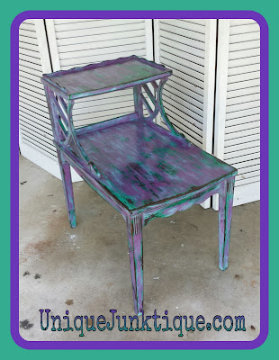 green and purple chalk paint table