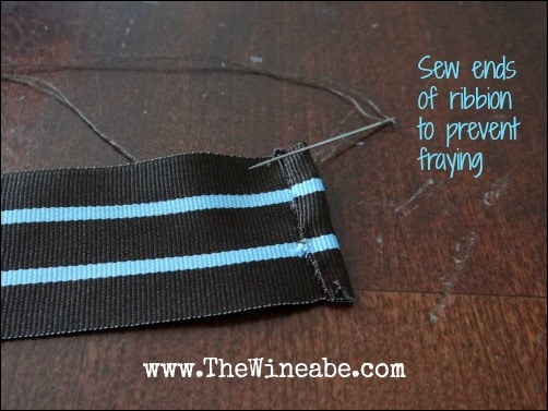 sew ends of ribbon