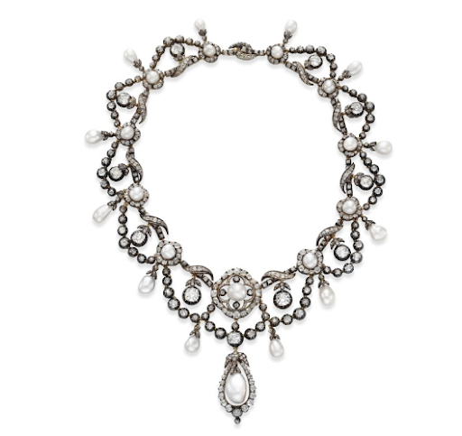 An Antique Natural Pearl and Diamond Necklace. Estimate: $100,000-$150,000