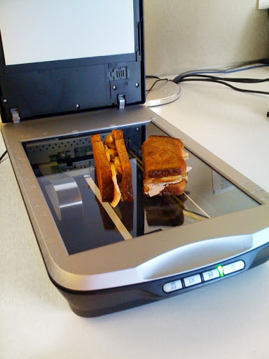 a grilled turkey sandwich just before scanning