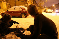 Julian and Shelley assembling a snowman