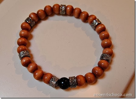Medium Wood and Silver Bracelet