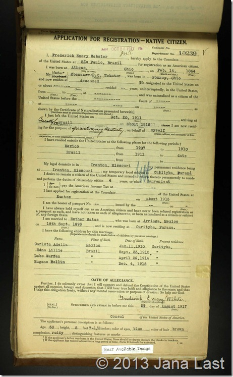 US Consular Registration Applications 1916-1925 Frederick Webster 1917