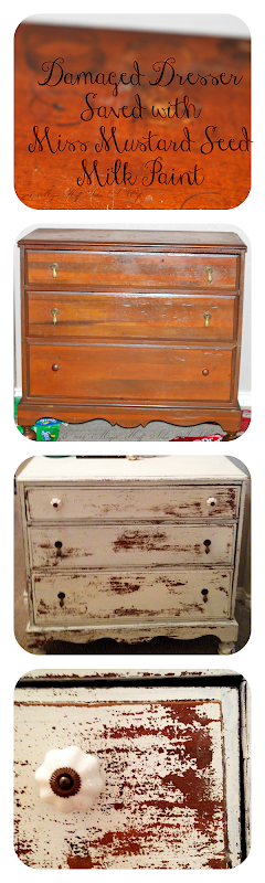 Damaged Dresser saved with Miss Mustard Seed Milk Paint