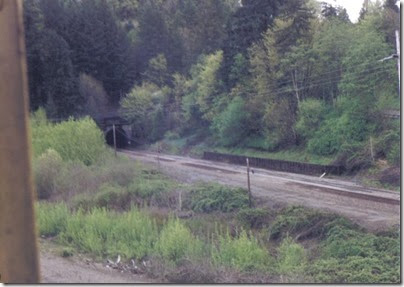 View of the BNSF Rocky Point Tunnel from the Weyerhaeuser Woods Railroad (WTCX) at Kelso, Washington on May 17, 2005