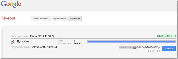 Google Takeout scaricare archivio Google Reader