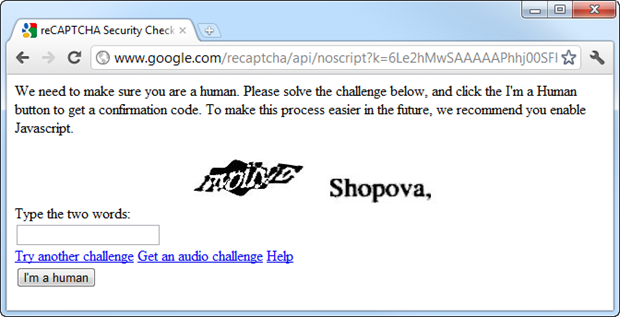 CAPTCHA contents of the iframe embedded in a form