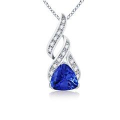 Trillion Tanzanite and Diamond Designer Pendant