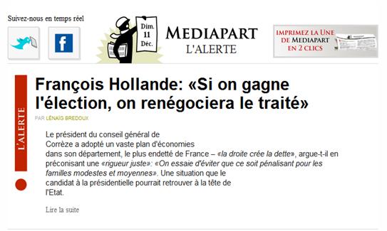 mediapart informacion sobre la gestion d'Hollande en Corrèze