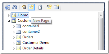 Creating a new page using the icon on the Project Explorer toolbar.