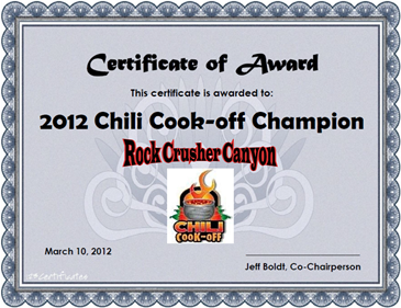 Boldt 39 s rv castle chili cook off for Chili award certificate template