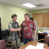 "Jon Miller and Planning Director Will Spence with the ""political handshake shake"""