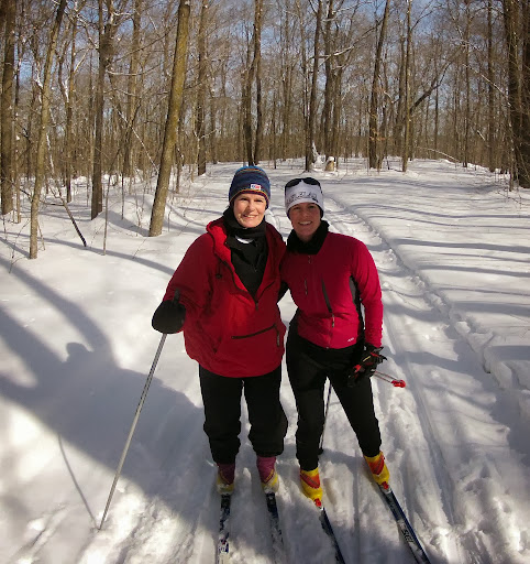 Judy and Sara Florell enjoying the beautiful day and fresh snow on Mother North Star