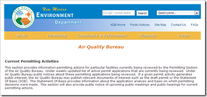 New Mexico Environment Department Air Quality Bureau