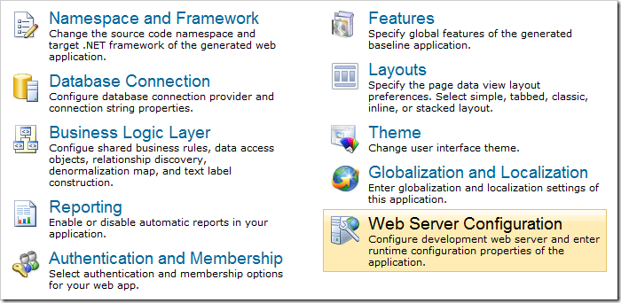 Web Server Configuration option on the Settings page of Code On Time web application generator.