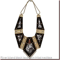 black lace resin tribal necklace