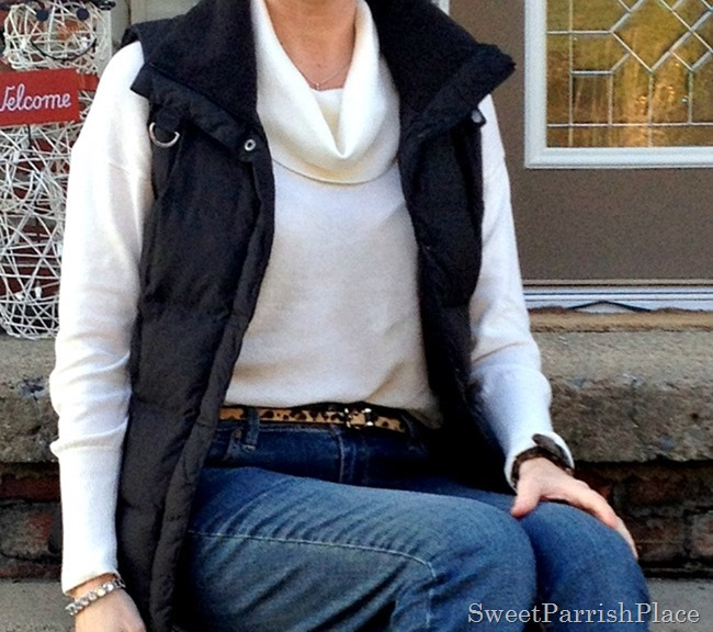 puffer vest and leopard