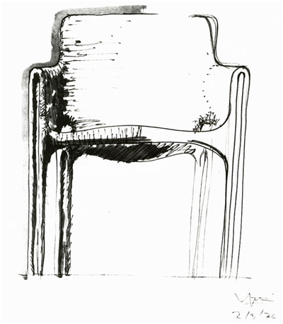 Sketch for the Gaudi armchair