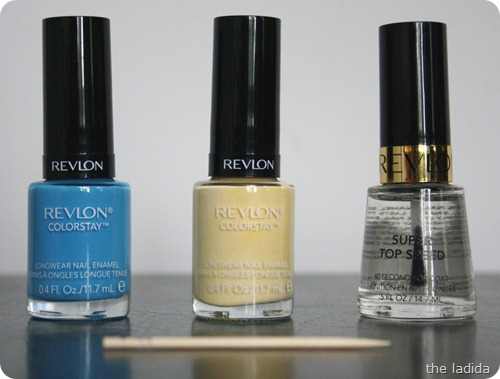 Polka Dot Nails -Toothpick - Revlon Colorstay Nail Polish - Coastal Surf and Buttercup (5)