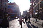 Walking to the main square in Wroclaw.  It was really sunny out.
