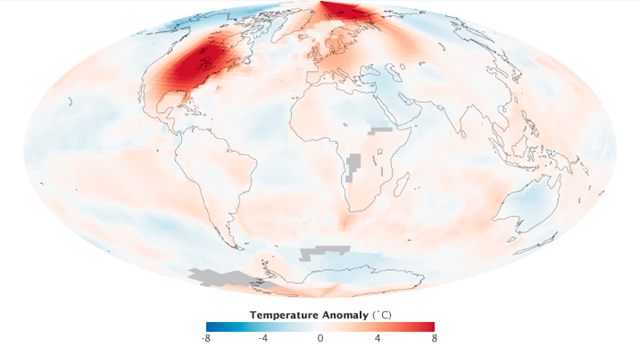 Global temperature anomalies for March 2012, based on an ongoing analysis by scientists at NASA's Goddard Institute for Space Studies. It shows changes from the norm for each region, not absolute temperatures. That is, the map depicts how much temperatures rose above or below the average March temperatures for that area compared to the base period of 1951-1980. NASA image by Robert Simmon, based on data from the NASA Goddard Institute for Space Studies