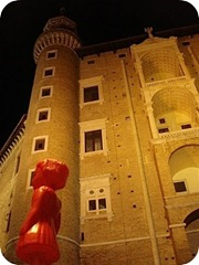Ada walking past Palazzo Ducale