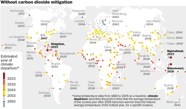 Climate departure years for cities around the world. A city hits 'climate departure' when the average temperature of its coolest year from then on is projected to be warmer than the average temperature of its hottest year between 1960 and 2005. Earth, overall, passes climate departure in 2047. The study also projects the year of climate departure in dozens of specific cities. The cities marked by dark red dots are projected to hit climate departure really, really soon. Bad news: Many of these are the most vulnerable to the effects of climate change. Graphic: Leonard Bernstein and Gene Thorp / The Washington Post